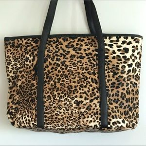 Animal Print Vegan Leather Leopard Tote Bag